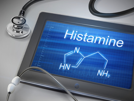 histamine: histamine word display on tablet over table Illustration
