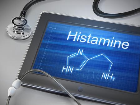 histamine: histamine word display on tablet over table Illustration