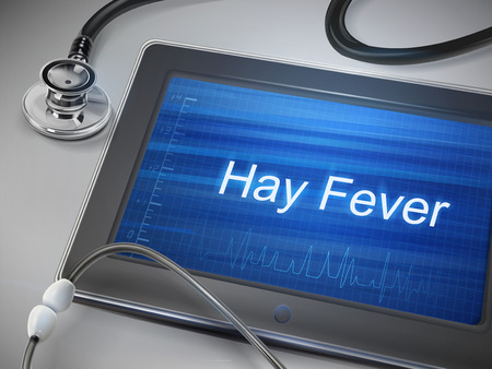 histamine: hay fever words display on tablet over table