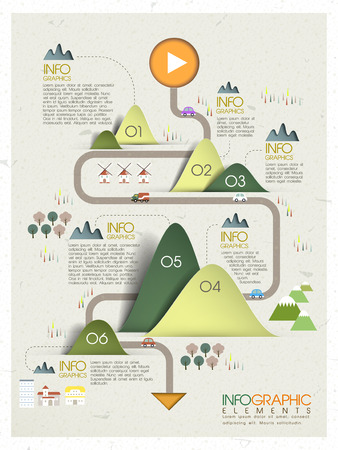 origami: lovely ecology concept infographic template design in origami style