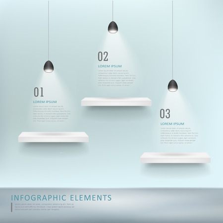 object: creative infographic template design with exhibition shelves