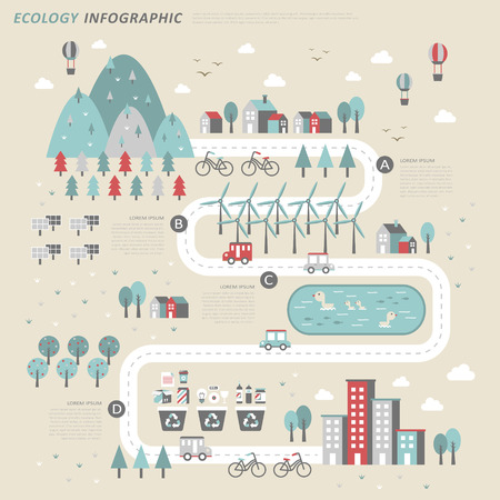ecologisch concept infographic sjabloon in platte ontwerp Stock Illustratie