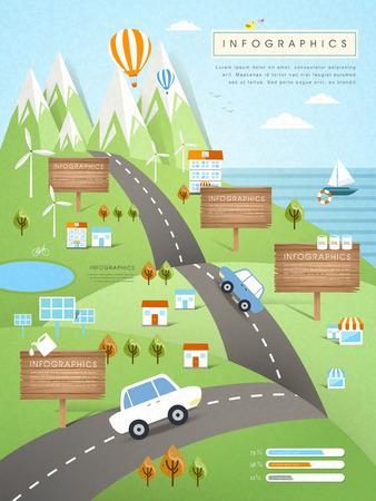 carretera: concepto de la ecolog�a plantilla infograf�a en dise�o plano