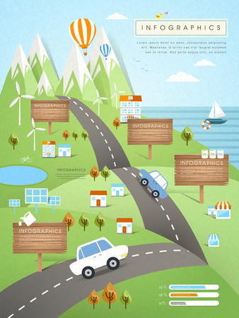 cars on the road: ecology concept infographic template in flat design