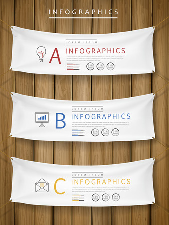 blank banner: exhibition concept infographic template design with hanging banners element Illustration