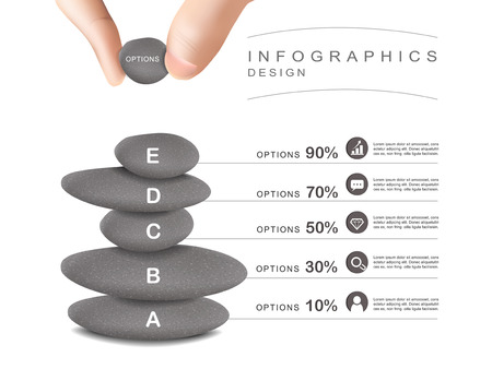 put: mental concept infographic template design with stone tower