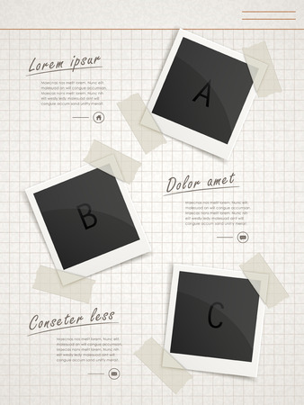 photo paper: retro infographic template design with photo paper elements Illustration