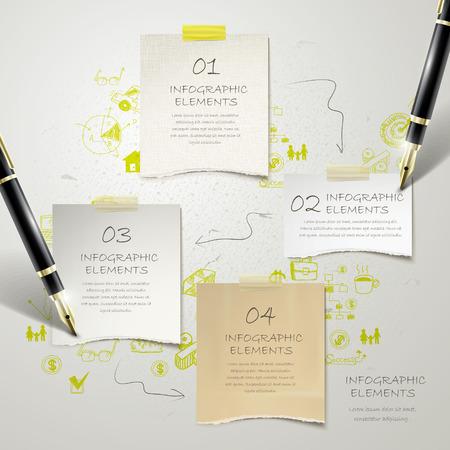 papel de notas: dise�o de la plantilla infograf�a moderna con elementos de papeler�a
