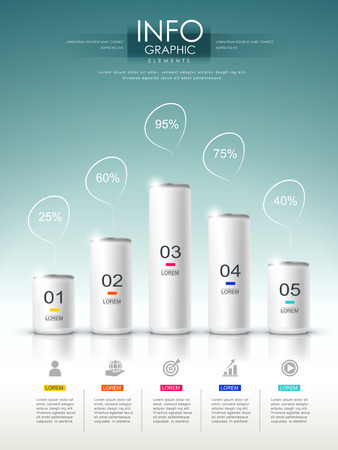 product display: modern infographic template design with empty cans set