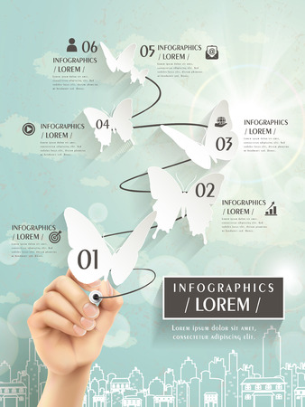 elegant infographic template design with paper butterflies cut-out