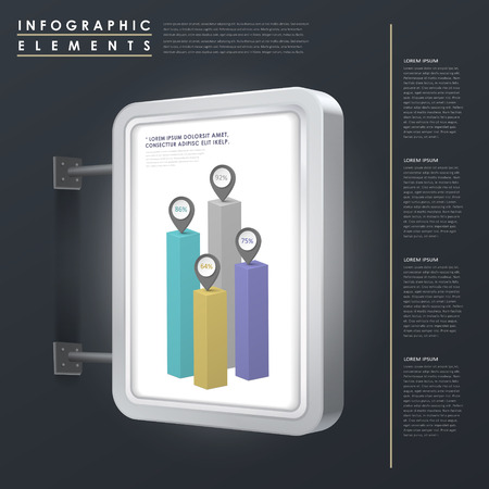 marketing concept infographic template design with lightbox element Illustration