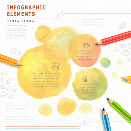 watercolor style education infographic with colorful pencils element