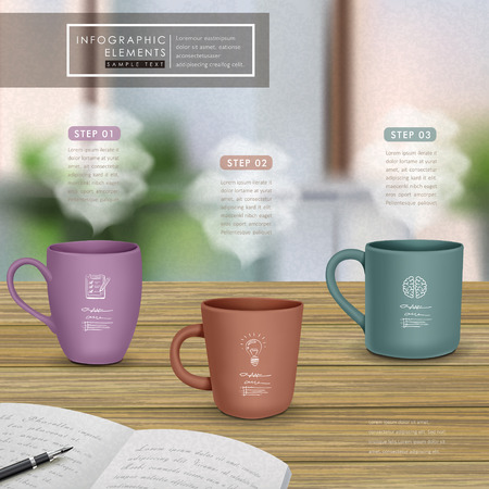 creative infographic template design with mugs on wooden table