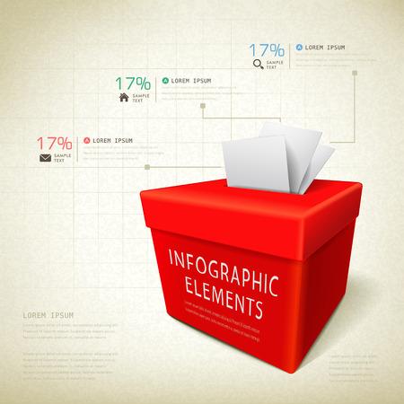 voting box: concetto di feedback template design infografica con elemento contenitore di voto Vettoriali