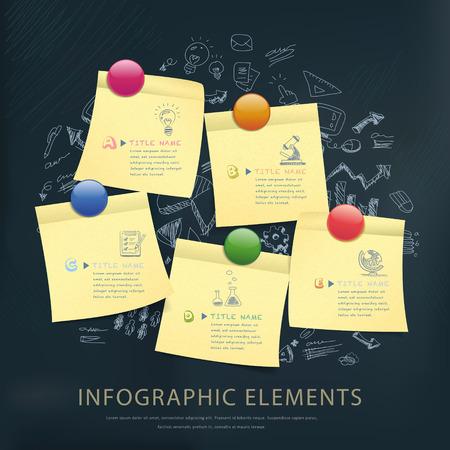 papel de notas: concepto de la ense�anza del dise�o plantilla infograf�a con las notas adhesivas