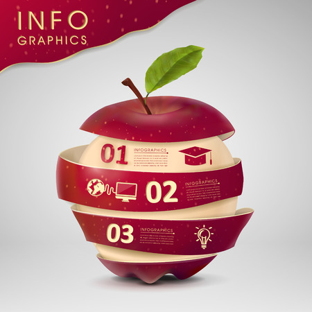 report: education concept infographic template design with apple element Illustration
