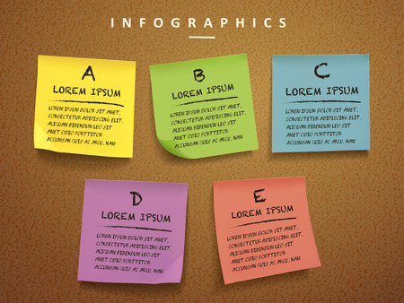 education concept infographic template design with sticky notes element  イラスト・ベクター素材