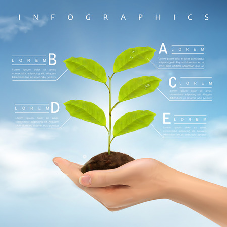 ecology concept infographic template design with realistic hand holding plant Illustration