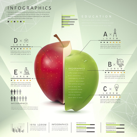 education icons: education concept infographic template design with apples element Illustration