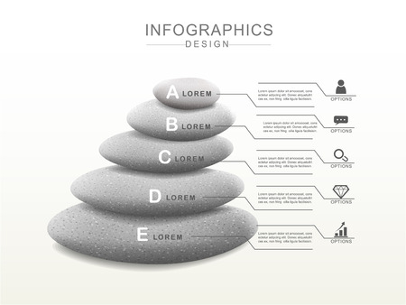 tranquility: mental concept infographic template design with stone tower