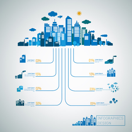 energy concept infographic template design with city scenery