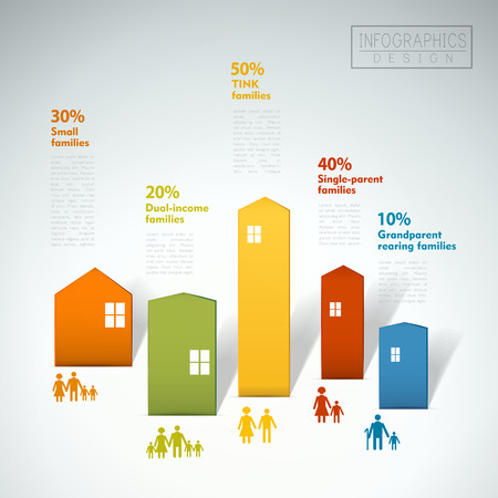 real estate background: family concept infographic template design with house element Illustration