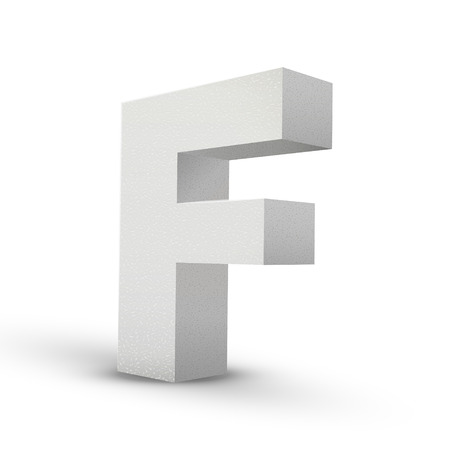 letter f: white letter F isolated on white background