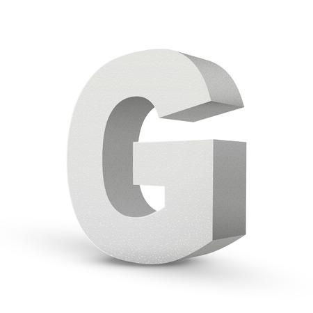 white letter G isolated on white background