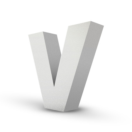 v shape: white letter V isolated on white background