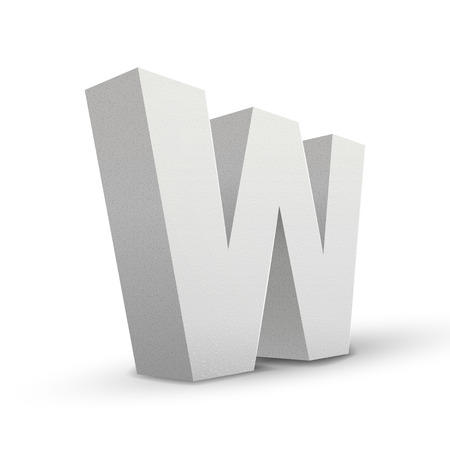 letter w: white letter W isolated on white background Illustration