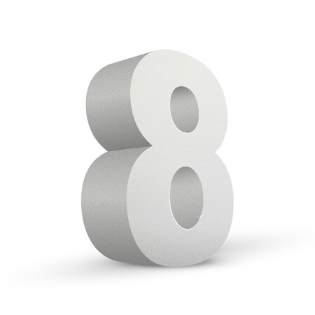 numerical value: white texture number eight isolated over white background
