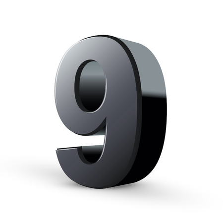 numerical value: glossy black number nine isolated on white background Illustration