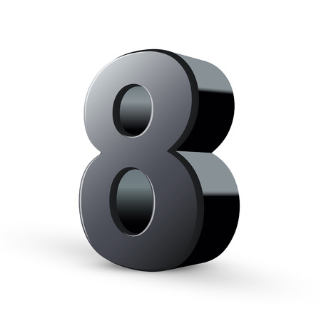glossy black number eight isolated on white background