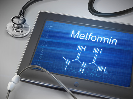 メトホルミン word テーブルの上に聴診器でタブレットに表示されます。  イラスト・ベクター素材