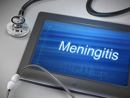 hospital germ: meningitis word displayed on tablet with stethoscope over table