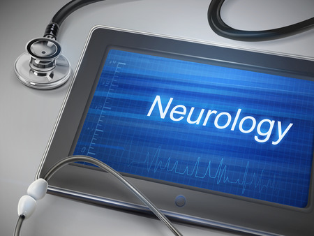 speciality: neurology word displayed on tablet with stethoscope over table