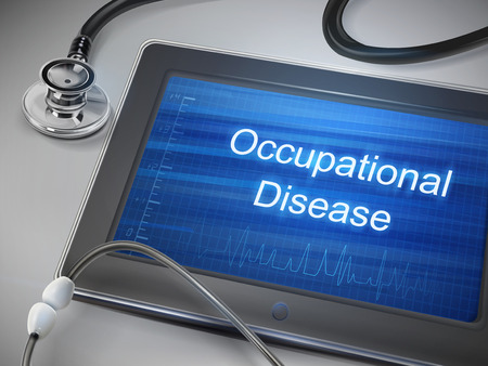 occupational: occupational disease words displayed on tablet with stethoscope over table