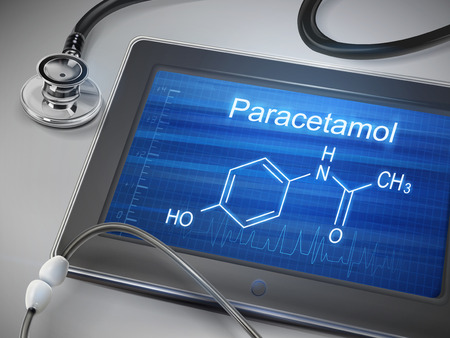 paracetamol: paracetamol word displayed on tablet with stethoscope over table Illustration