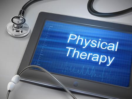 Fysiotherapie woorden weergegeven op tablet met stethoscoop op tafel Stockfoto - 35027258