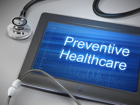 therapy: preventive healthcare words displayed on tablet with stethoscope over table Illustration