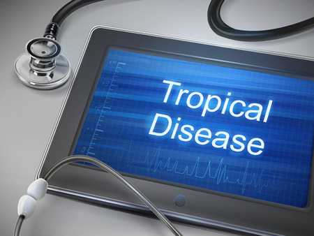 leprosy: tropical disease words displayed on tablet with stethoscope over table Illustration