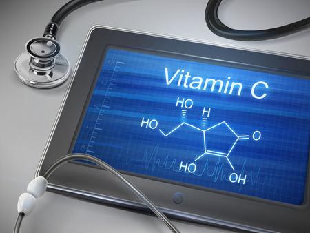 ascorbic: palabras vitamina c que aparece en la tablilla con el estetoscopio sobre la mesa Vectores