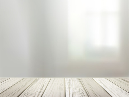 close-up look at wooden desk over blurred interior scene Ilustração