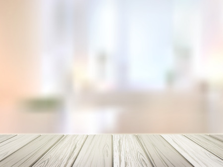 close-up look at wooden desk over blurred interior scene 向量圖像