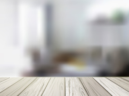 table surface: close-up look at wooden table over blurred kitchen scene