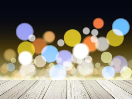 headlight: close-up look at wooden platform over lights of night Illustration