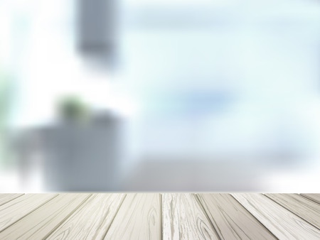 close-up look at wooden desk over blurred interior scene Stock Illustratie