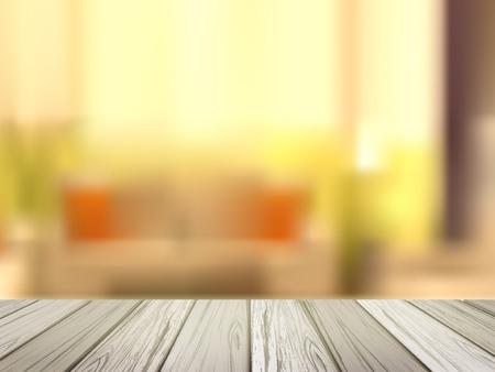 close-up look at wooden desk over blurred interior scene Illustration