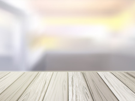 dining tables: close-up look at wooden desk over blurred interior scene Illustration