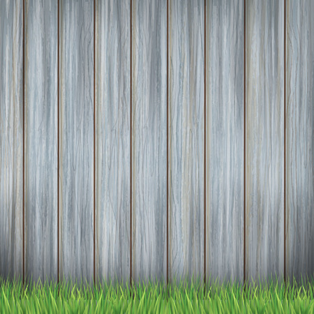 close-up look at wooden fence and greenfield Illustration